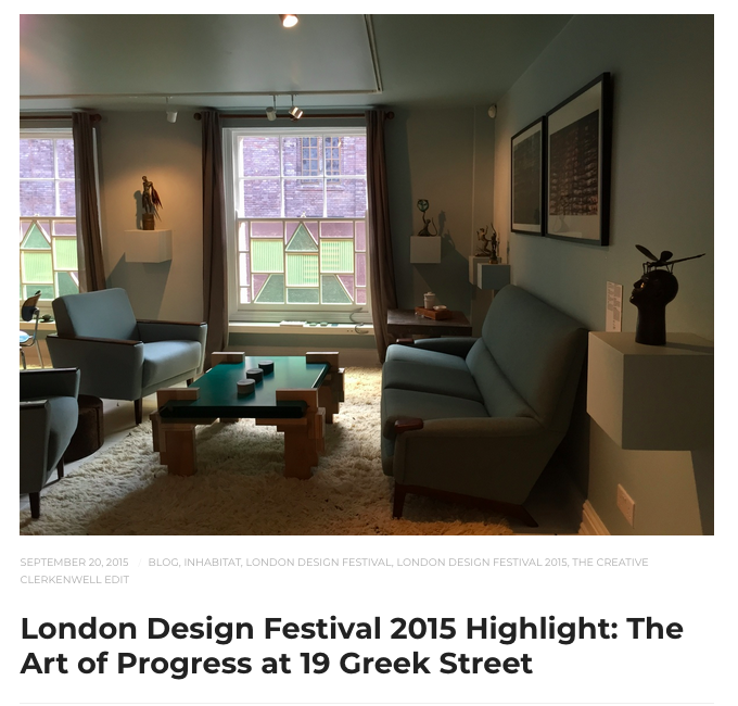 The Art of Progress  exhibition, Human Nature at 19 Greek St for London Design Festival, London 2015.