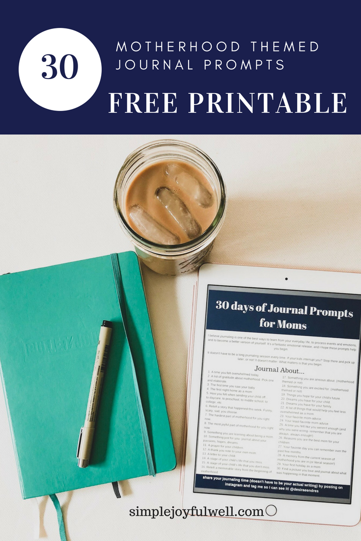 Free motherhood journaling resource. 30 free journal prompts about motherhood.