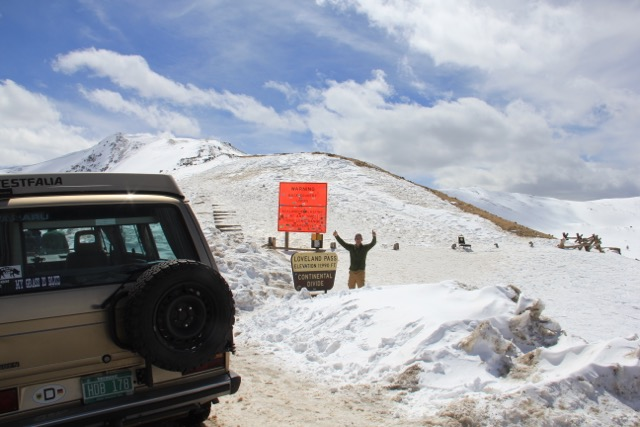Scott pushing his new Vanaru Engine System powered Westfalia up over the Loveland Pass— 11,990 feet of elevation!