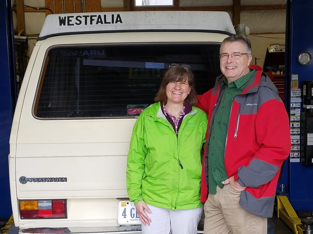 "From our partner facility, Valley Westy— ""Brad and wife Judy picking up Vanaru converted 84 Westy. Genuine smiles of happiness to get a 4 generation van back and take sons camping soon. Enjoy the fresh 170hp. Use cruise to avoid speeding tickets."""