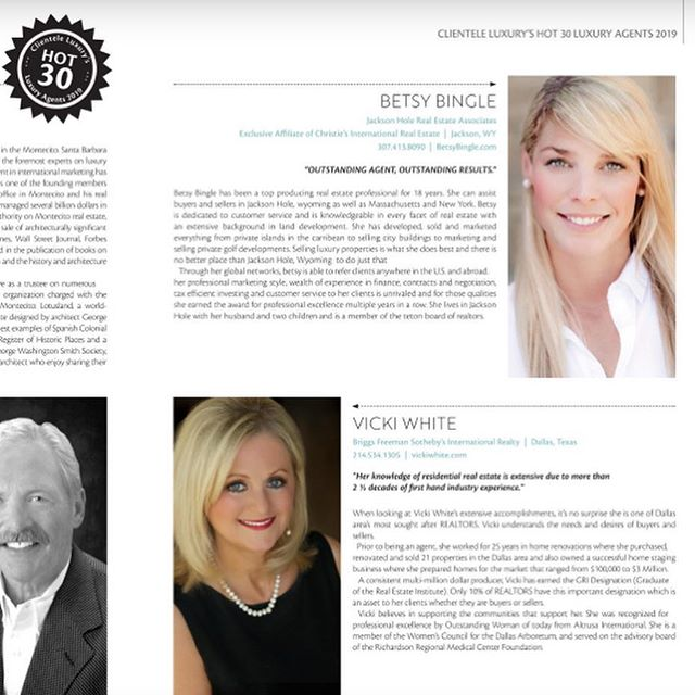 HOT 30 AGENTS 2019!! 🙏  THANK YOU to Clientele Luxury Global for featuring me as one of the Hot 30 Agents 2019!!! Thank YOU! #ClienteleLuxuryGlobal  @clienteleluxury @betsybinglerealestate @betsy_bingle @alexamac55