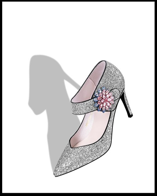 2ba3017622 Gorgeous Silver shimmer Pointed mouth rhinestone sequins flowers sexy  maryjane wedding pumps shoes - Bride ...