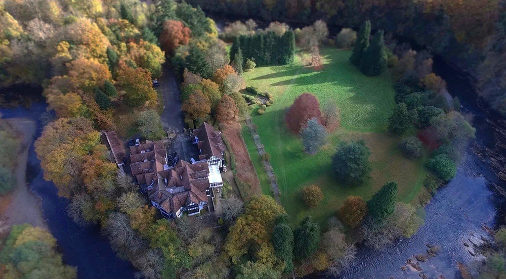 Aerial shot of Caer Beris Manor and surrounding grounds.