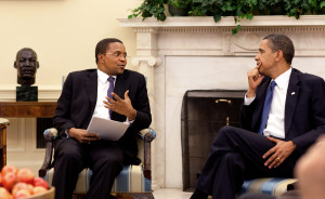 President Barack Obama meets with Tanzania President Jakaya Kikwete, left, in the Oval Office Thursday, May 21, 2009.   Source: Wikimedia Commons