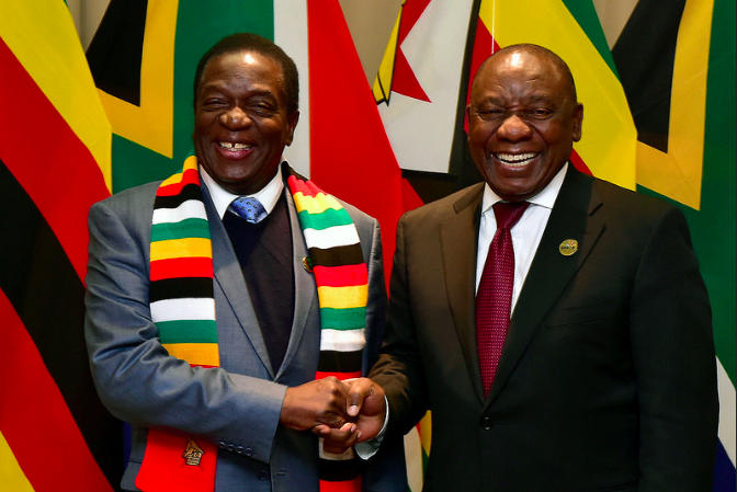 President Emmerson Mnangagwa (left), pictured in 2018. Flickr.