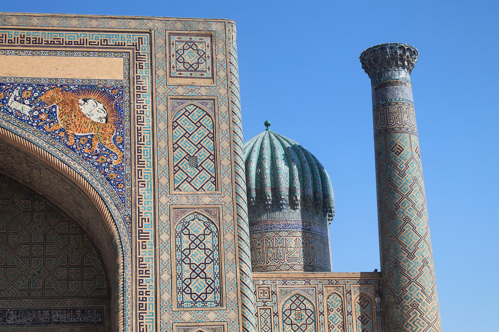 The Sher-Dor Madrasah is a famous monument located in Samarkand, a popular tourist destination in Uzbekistan. (Flickr)