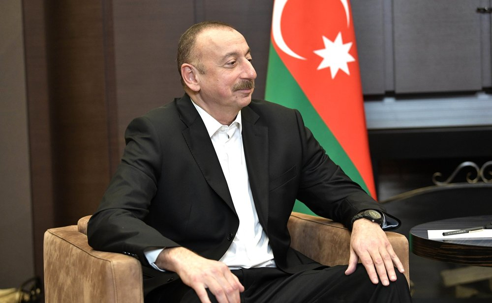Azerbaijani President Ilham Aliyev pictured at a meeting with Russian President Vladimir Putin in Sochi in 2017 (The Kremlin).