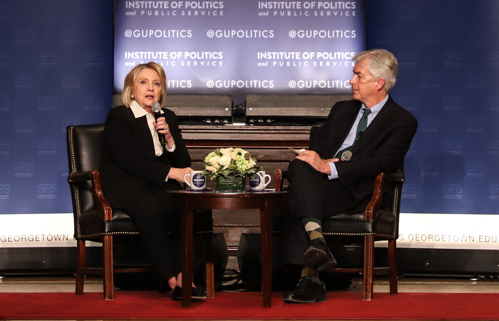 Former-Secretary of State Hillary Clinton discussed diplomacy with former-Ambassador Bill Burns at a Georgetown University symposium. (Bryce Couch, SFS '19)