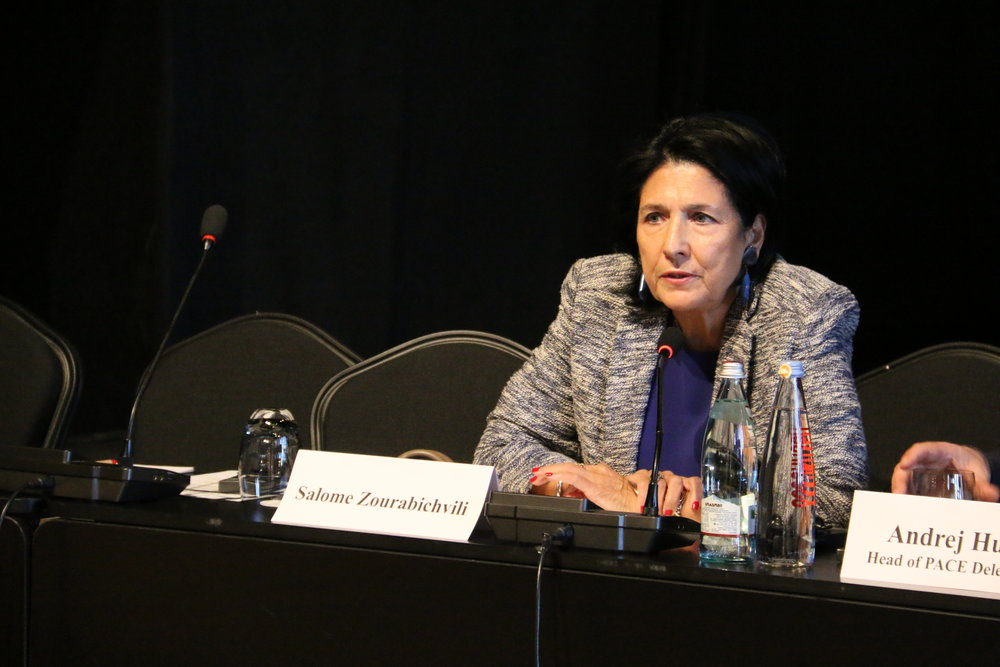 Georgian President Salome Zurabishvili pictured in 2018 at the OSCE Parliamentary Assembly. (Wikimedia Commons)