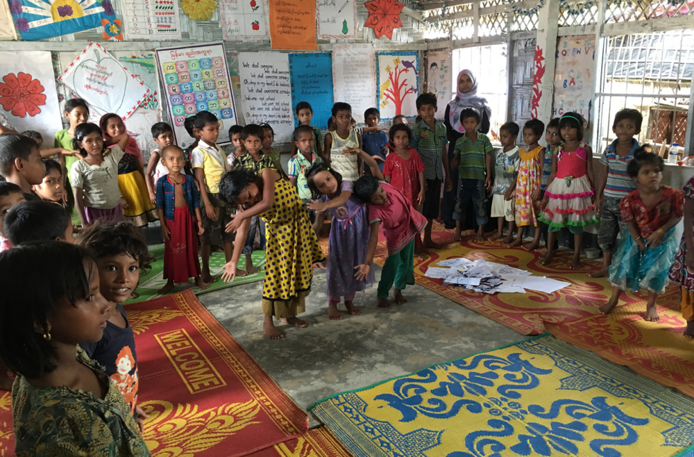 Rohingya children play and exercise in one of many refugee settlements in Cox's Bazar, Bangladesh in September 2017. (flickr)
