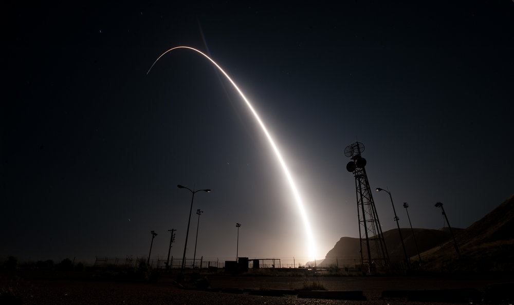 A test firing of a Minuteman III intercontinental ballistic missile (ICBM) from Vandenberg Airforce Base in 2017. (U.S. Air Force)