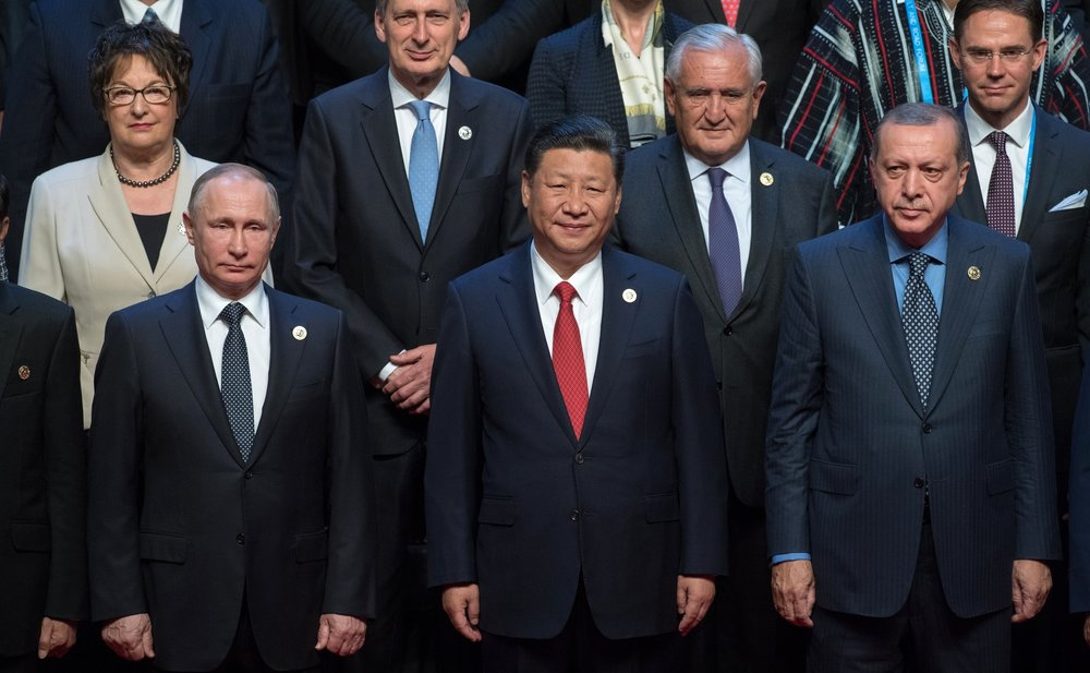 Chinese President Xi Jinping stands with other dignitaries at the 2017 Belt and Road Initiative International Forum. (Wikimedia Commons)