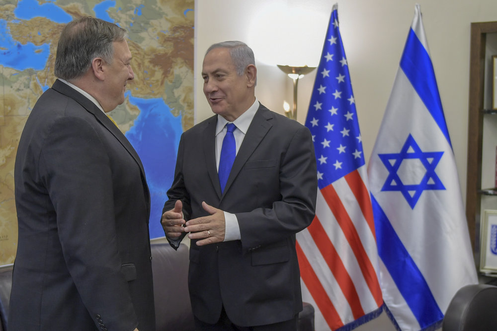 Israeli Prime Minister Benjamin Netanyahu meets with Secretary of State Mike Pompeo in 2018. (Wikimedia Commons)