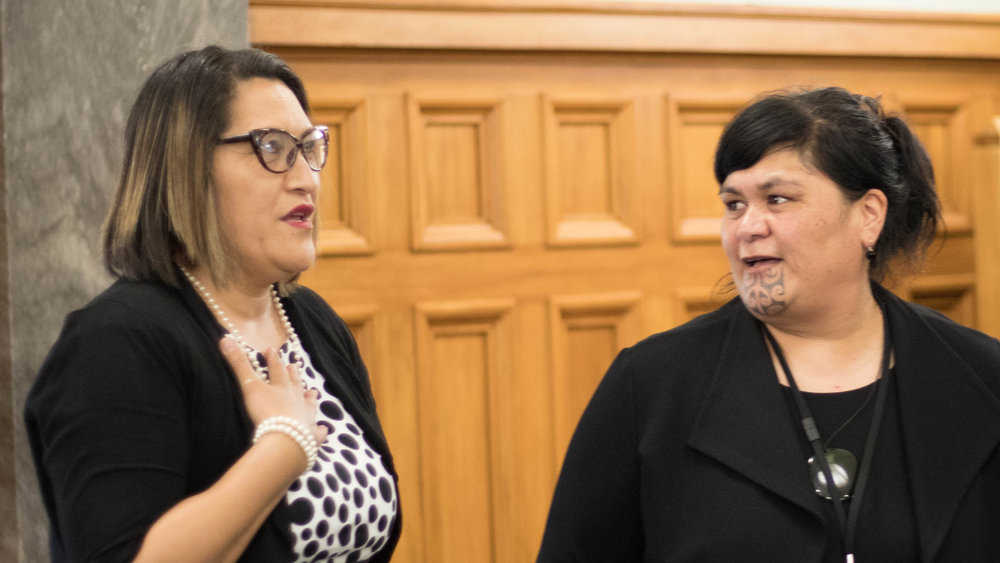 Nanaia Mahuta (right) recently gave a keynote speech at an indigenous women's conference in Chile. (Wikimedia Commons)