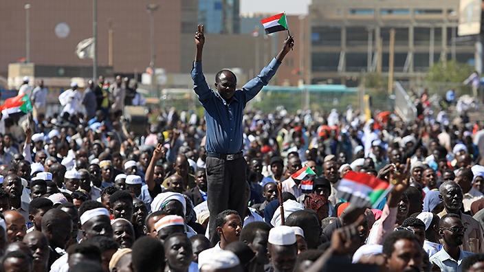 Sudanese men and women have been protesting since December. ( SBS )