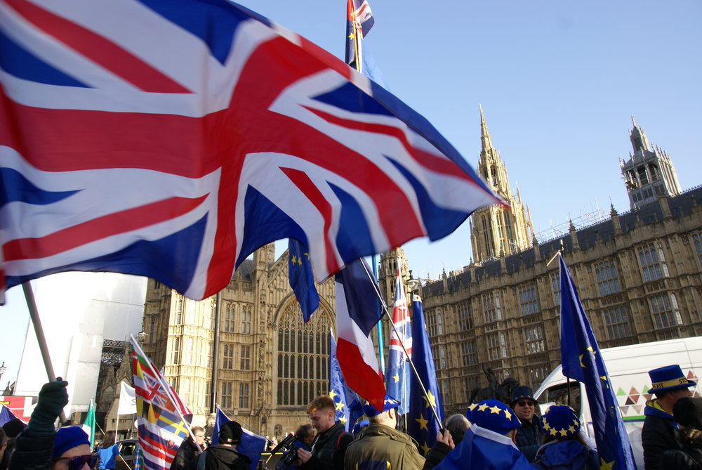 Remainer/anti-Brexit protesters outside of the Palace of Westminster, London, in December 2018 [Wikimedia Commons].