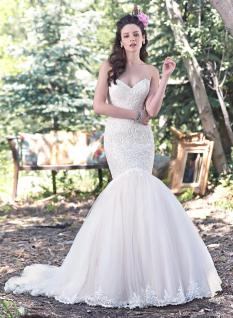 Mermaid - This silhouette is very similar to trumpet, it is fitted through the body down to the knee and flares at the knee. This style is great for hourglass shapes or any bride wanting to show off her curves.