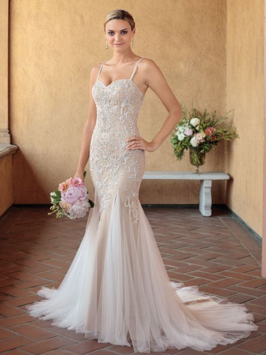 - Who else loves sparkle! All over shimmer or beading that covers majority of the gown is a trend that we will be seeing a lot more of. These gowns are perfect for evening weddings or brides who love to sparkle.(Size 10)