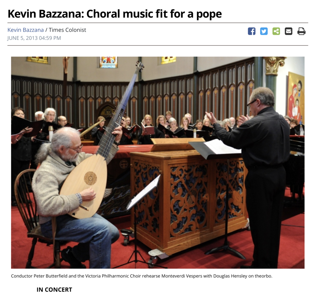 Times Colonist: Choral Music Fit for a Pope