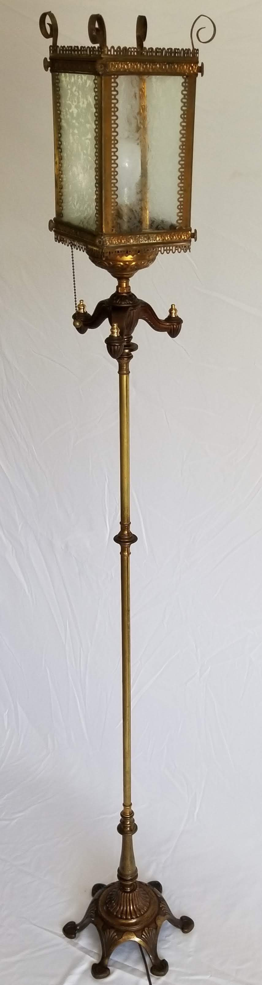 """SOLD.  We found a mid-Century floor lamp with the right patina to match the 1930's gas-powered porch light. Flipped upside down and mounted atop makes for an unusual and eclectic conversation piece.  Height: 56"""""""