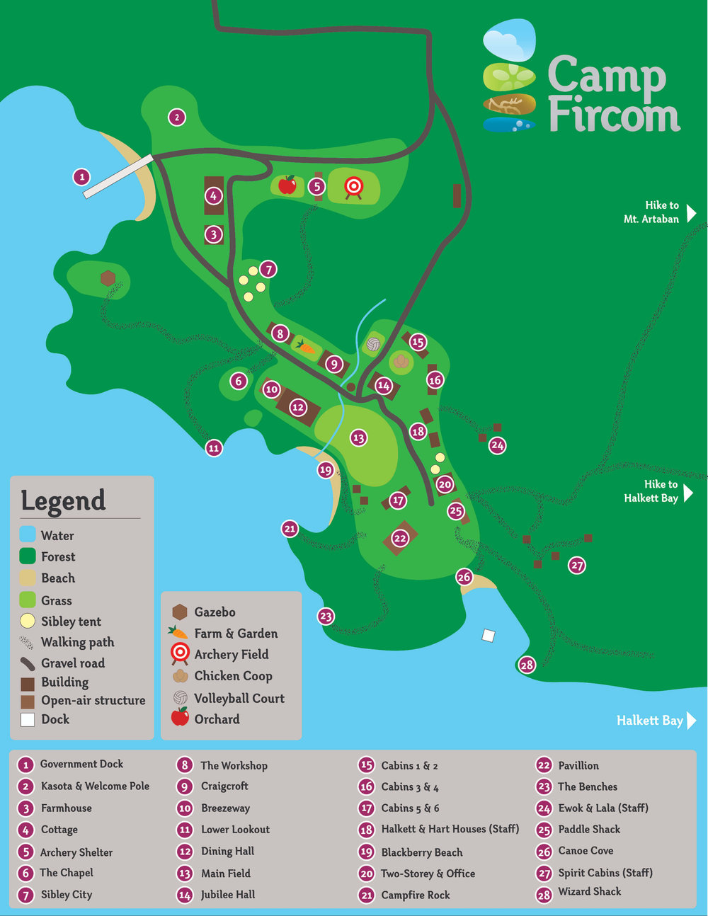 Camp Fircom is situated on the south-east corner of Gambier Island