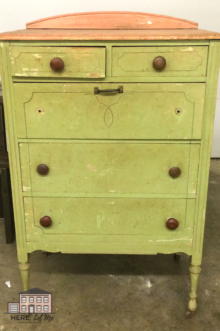Chalk Painting A little yellow chest of drawers