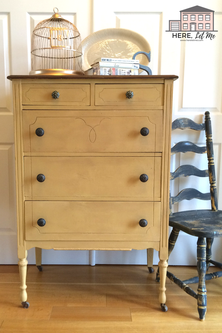 Chalk Painting: A Trombone Yellow Chest of Drawers