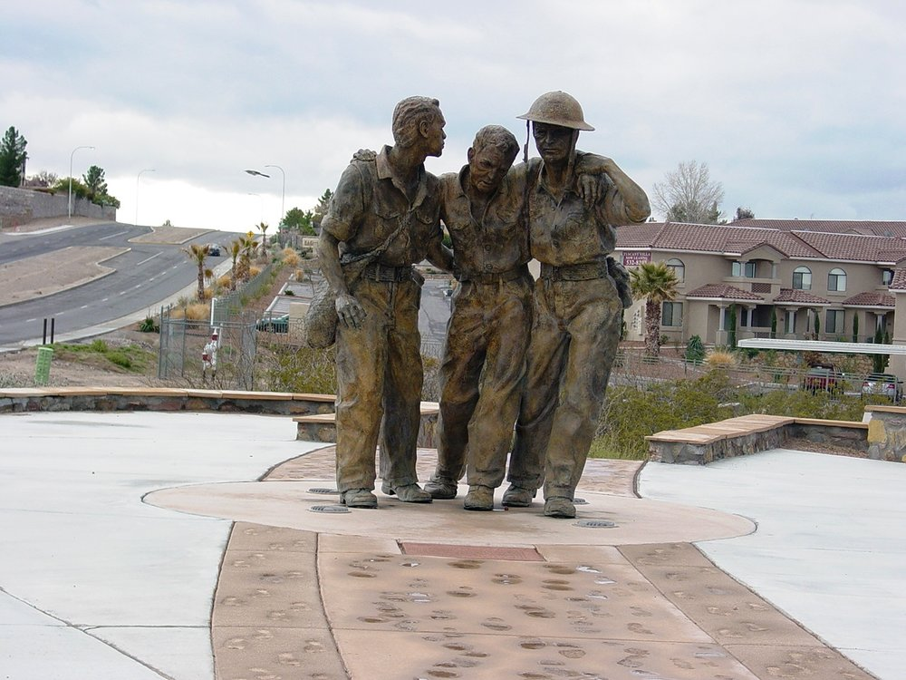 Statue of Bataan Death March walkers, located at Veterans Memorial Park, Las Cruces, NM.