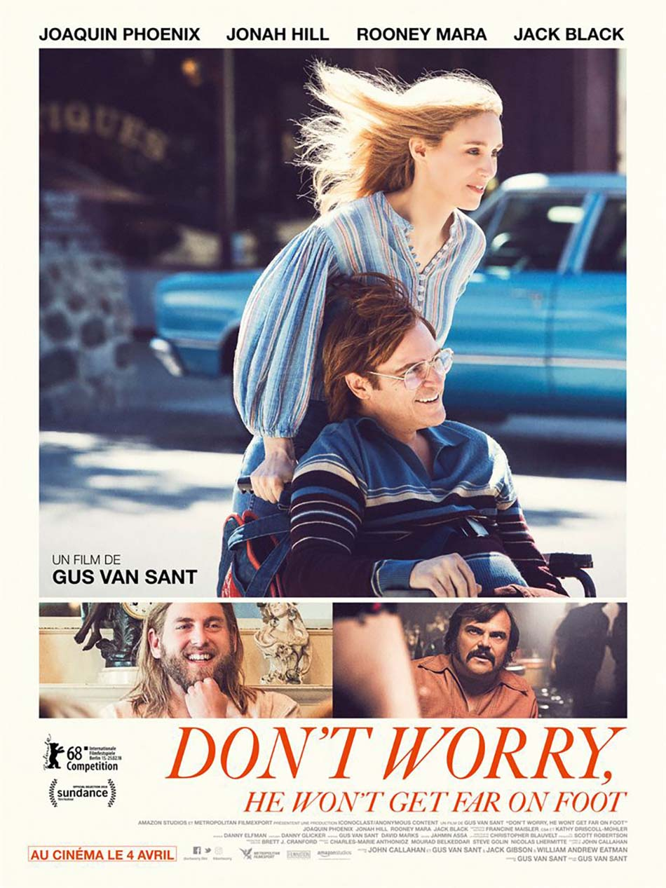 Don't Worry, He Won't Get Far on Foot- by Kathia Woods - Is a story about the life of John Callahan. Gus Van Sant wrote the screenplay as well as direct this biopic. Joaquin Phoenix plays the title role and Jonah Hill his spiritual advisor. The story depicts how Callahan's alcoholism led to him being paralyzed and ultimately opening his career as a cartoonist. The movie is under the Amazon Studios umbrella and made its debut at Sundance. Jack Black portrays Dexter the driver responsible for his paralysis. This is a story about redemption. A story about a bad incident helping an individual face his demons. Phoenix is a real-life complex man, but his complexity makes him a great actor. He gives you range in this story, however, there are some challenges. Such his character John Callahan dealing with his disability. We don't receive an honest opening on how he's facing the fact that his alcoholism is the cause of his disability, not Dexter. The fact that he's been using his childhood trauma to justify his drinking. Yes, one's mother abandoning is horrible however it doesn't excuse the disregard he shows towards life, and loyalty. He finds moments of clarity by joining AA. That's the place he meets Donnie Green played by Johan Hill. Hill is a gay recovering spiritual alcoholic that invites Callahan to join his sponsor group. In that group, he's interacting with characters that he may not otherwise talk too. Beth Ditto as Reba doesn't pull any punches when he doesn't share in group therapy. The rest of the group is made up of Mark Webber as Mike a vet, Ronnie Adrian as Martingale a homosexual revolutionary poet, Kim Gordon as Corky a suburbanite and Udo Kier representing the straight male. Rooney Mara portrays Phoenix's love interest. She's Swedish, blond, alluring and somehow finds Callahan sexy. There was an opportunity to show intimacy between an able-bodied person and a disabled person, but it lasted no more than five minutes. Joaquin Phoenix is stellar however I find myself asking questions such as are his disability as well as the alcoholism being dealt with at the same time. Why don't we get a better understanding of his childhood or why his mother abandoned him? Also, how did his art help him recharge? Was he a regular cartoonist at a paper or did he publish a book? This movie gave us great performances but left so many unanswered questions.On a scale of 1 through 10 I give it a 7 because of Joaquin PhoenixDiversity a 3 because we had one black guy and 2 gay characters