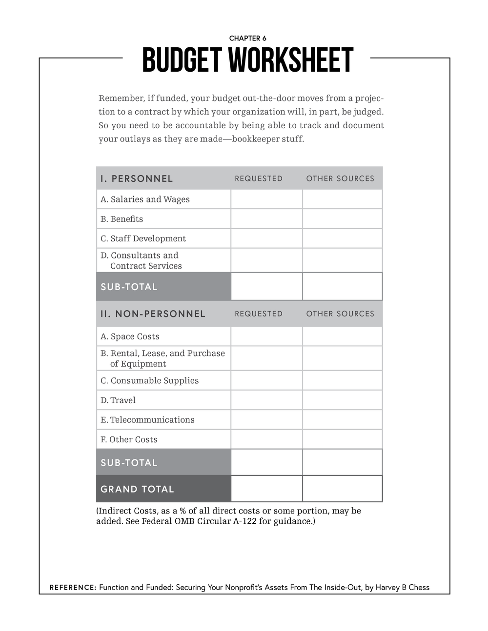 "Chapter 6: Budget Worksheet - Print friendly PDF: 8.5"" x 11"" black-and-white"