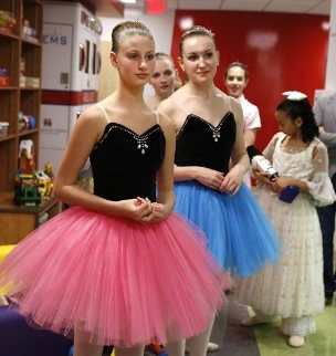 Dancers wait to perform at Riley Children's Hospital.