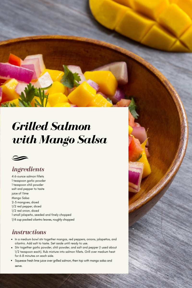 Grilled Salmon with Mango Salsa is a recipe by Creme de la Crumb. This is not my recipe, just a review.