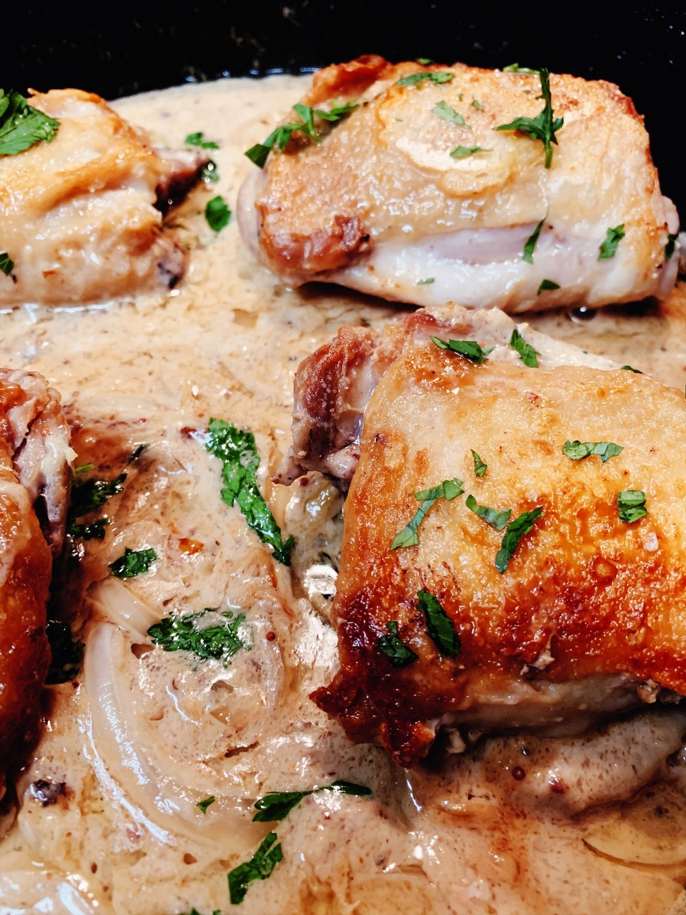 Chicken Thighs with Creamy Mustard Sauce cooked by Krissy, recipe by Ina Garten