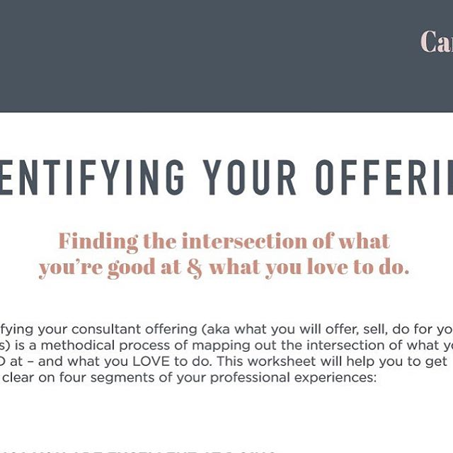 Finding clarity on where you want to GO in your career can be challenging. I created this exercise for myself when I was struggling with the same question. Here's my FREE worksheet download designed to find the intersection of what you're good at + what you love to do.    https://www.creatingconsultants.com/core-offerings ⠀⠀⠀⠀⠀⠀⠀⠀⠀ #solopreneurs #beyourownboss #workfromanywhere #womeninbusiness #womensupportingwomen #womenentrepreneurs #bosslady #mompreneur #workingmom #dowhatyoulove #mycreativebiz #creativelifehappylife #whereiwork #communityovercompetition  #livecolorfully  #livecolorfully #womenwhohustle #bossbabe #residualincome #creativepreneur