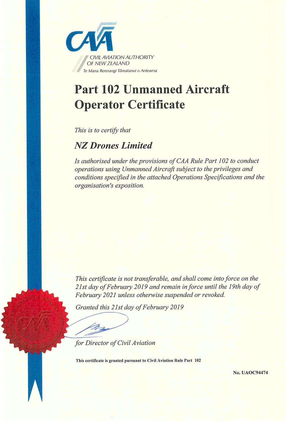 NZ Drones Part 102