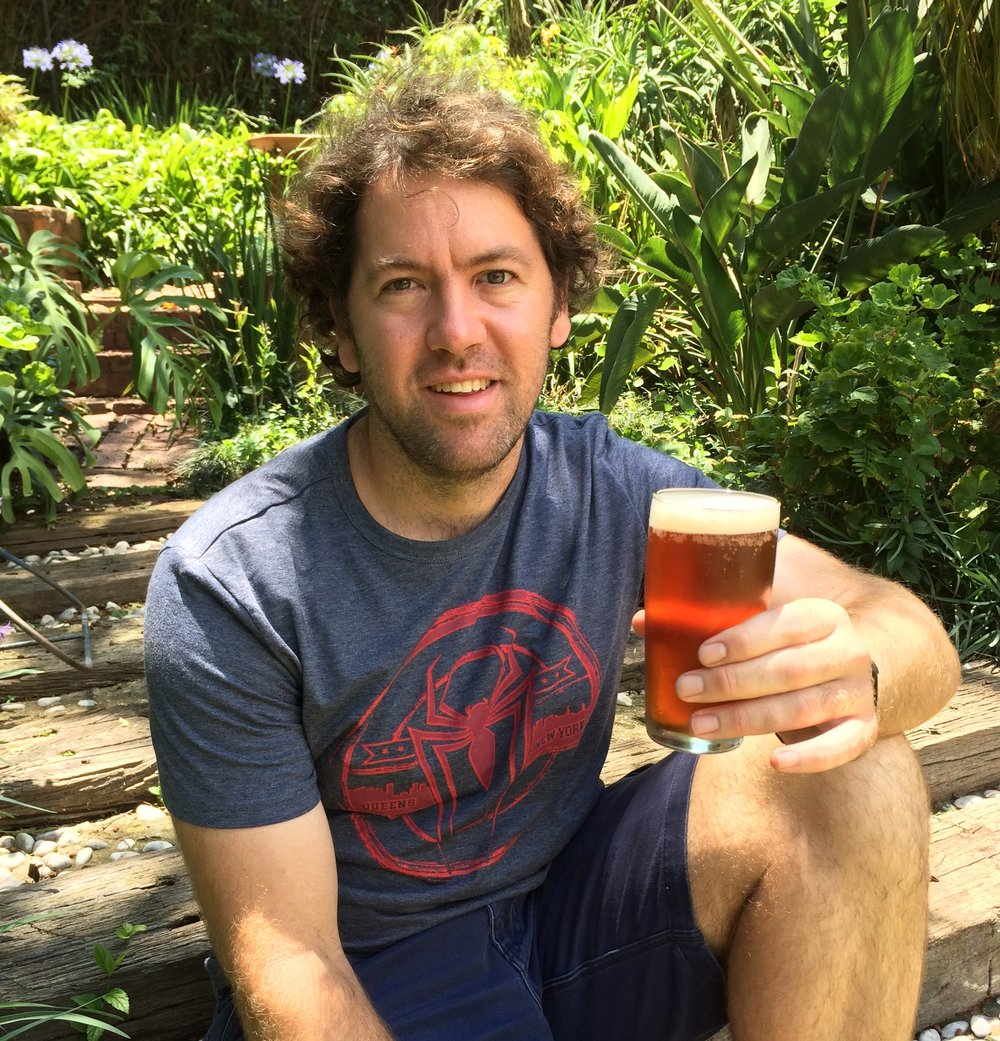 Frigid Isles Brewing founder enjoying the very first Killer Ale ever made!