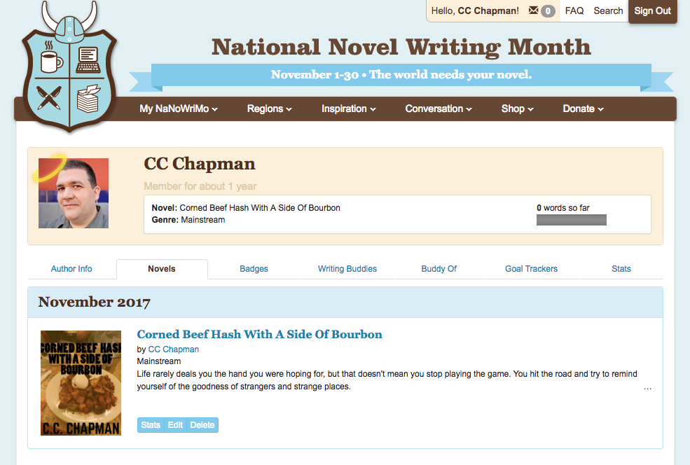 National Novel Writing Month Dashboard