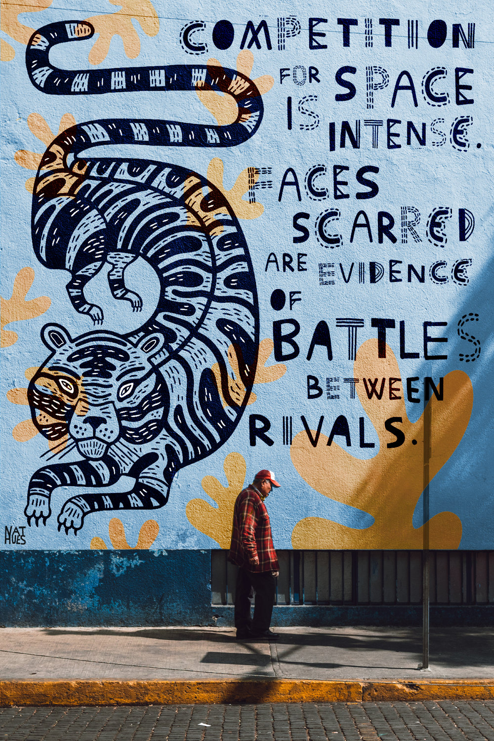 """""""Competition for space is intense. Faces scarred are evidence of battles between rivals."""" - Quote from a David Attenborough documentary. Digital mock-up of a mural. 2019."""