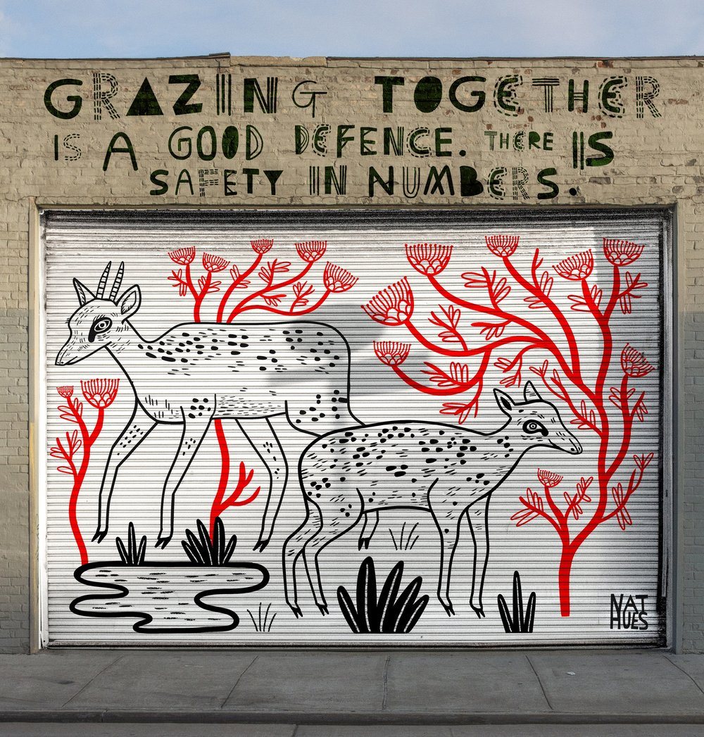 """""""Grazing together is a good defence. There is safety in numbers"""" - Quote from a David Attenborough documentary. Digital mock-up of a mural. 2019."""