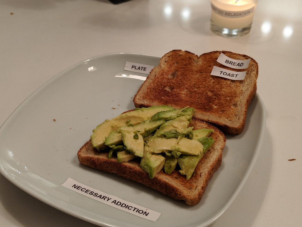 Untitled, 2018 - Open sandwich with labels, 8 x 6""