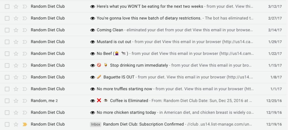 email screenshot from random diet club