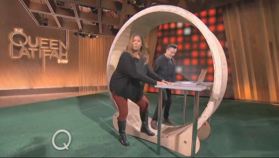 hamster wheel standing desk on the queen latifah show