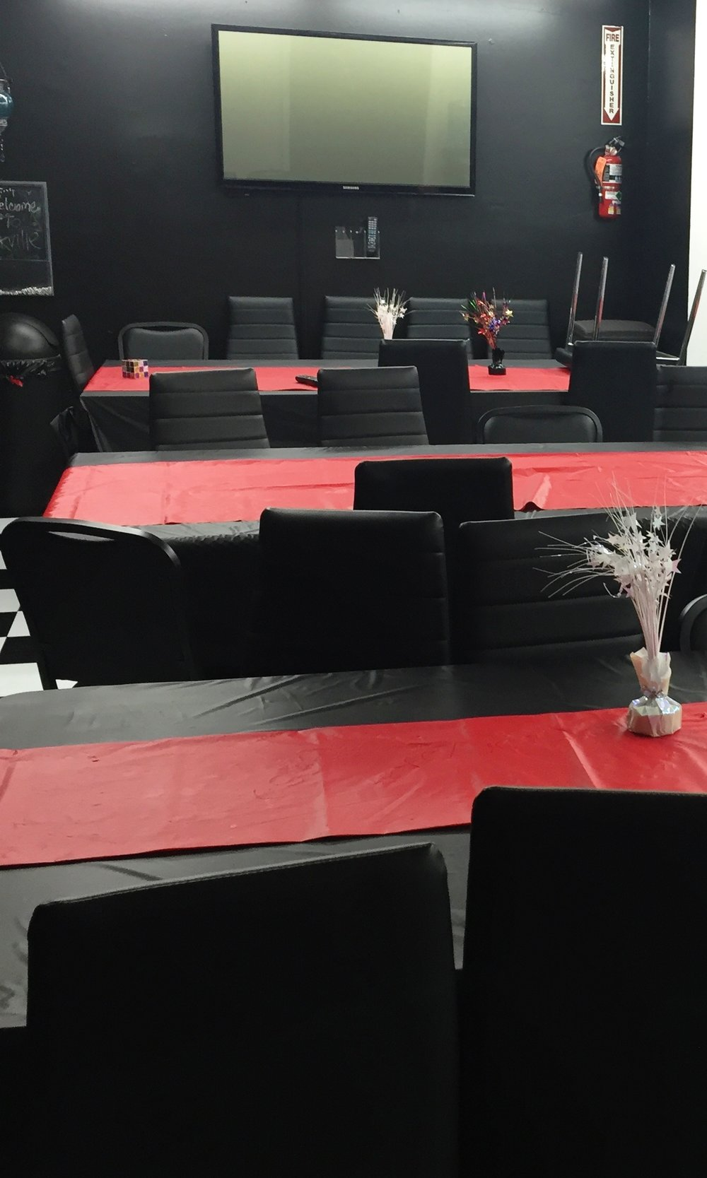 Party Room Rental - The Rockville Escape Room offers a multi-functional party room, with seating for 40. The cost for the room is $75* an hour and it includes tableware and cleaning.Ask about group discounts for large events!*Full deposit required for reservations.