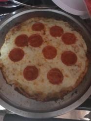 Pepperoni Pizza on a Cauliflower crust. It wasn't too bad.