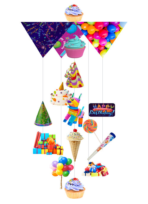 Crazy Kids Party Theia Chandelier Cards™ opened card