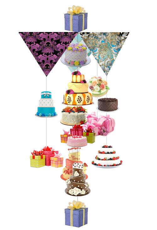 Sweet Birthday Cake Theia Chandelier Card™ opened card