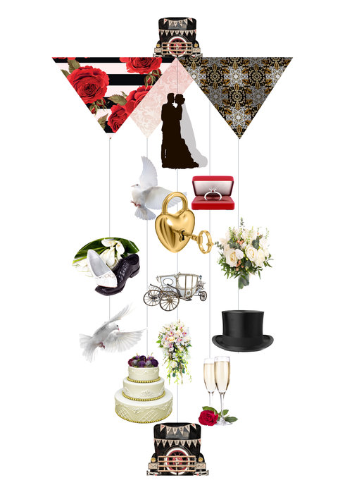 Just Married Theia Chandelier Card™ opened card