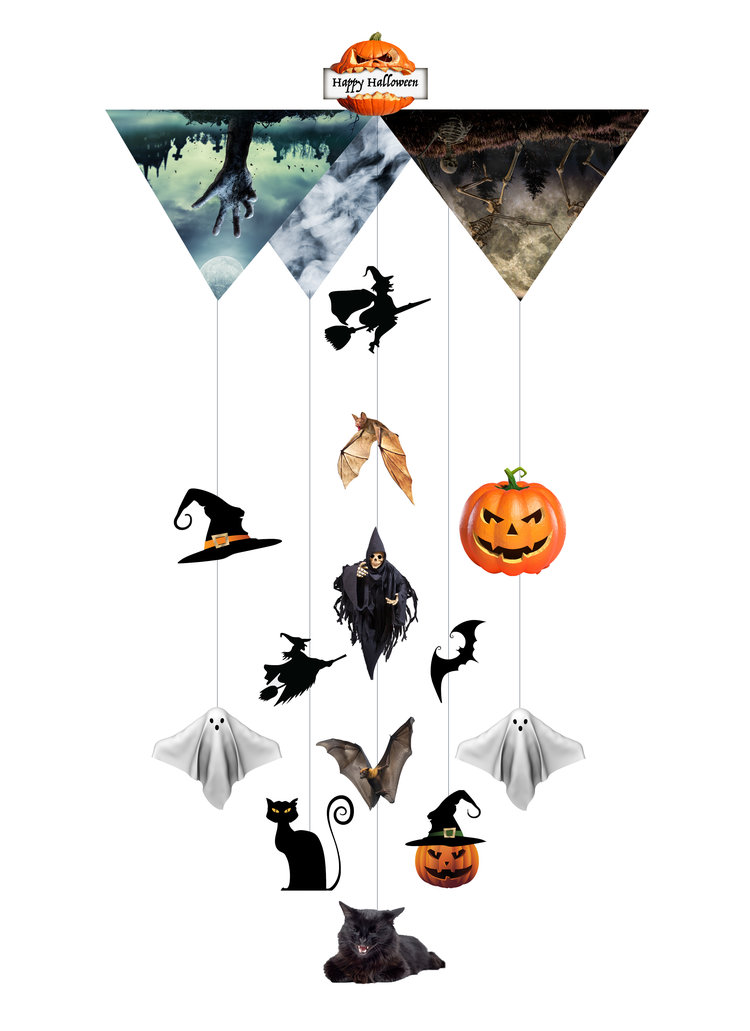 Halloween spooky Theia Chandelier Card™ opened card