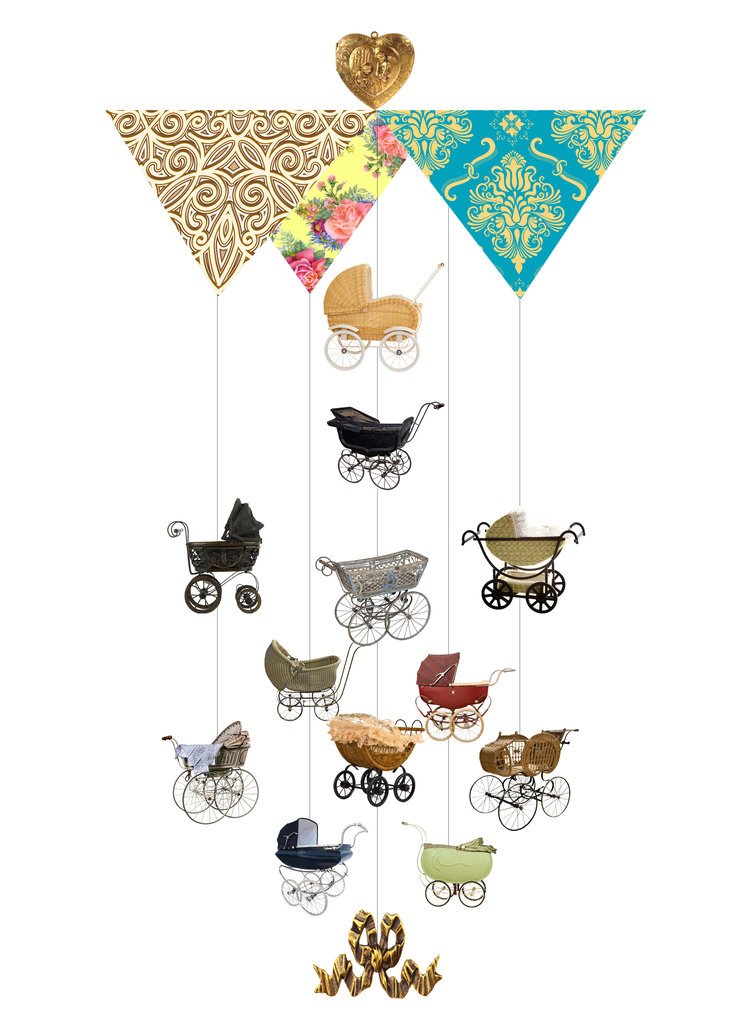 Baby Pram Theia Chandelier Card™ opened card