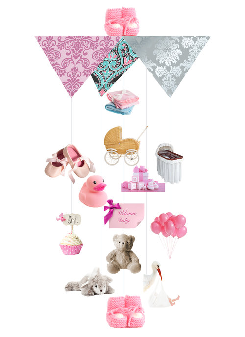 It's A Girl Theia Chandelier Card™ opened card
